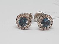 Серебряные серьги Солнышко с топазом и фианитами. Артикул 2112/9Р-TLB