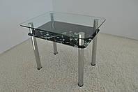 """Стіл кухонний скляний на хромованих ніжках Maxi DT R 900/650 (2) """"блюз"""" скло, хром, фото 1"""