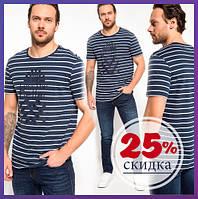 Синяя мужская футболка De Facto / Де Факто в полоску с надписью Less the Better, фото 1