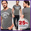 Серая мужская футболка De Facto / Де Факто с надписью Freedom на груди