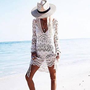 Пляжное платье белое гипюровое летнее коттоновое Парео на длинный рукав с большим вырезом 146-36, фото 2