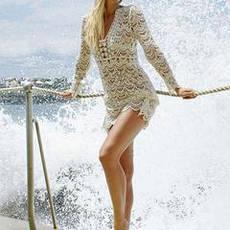 Пляжное платье белое гипюровое летнее коттоновое Парео на длинный рукав с большим вырезом 146-36, фото 3