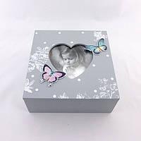 Шкатулка серая с бабочками средняя, фото 1