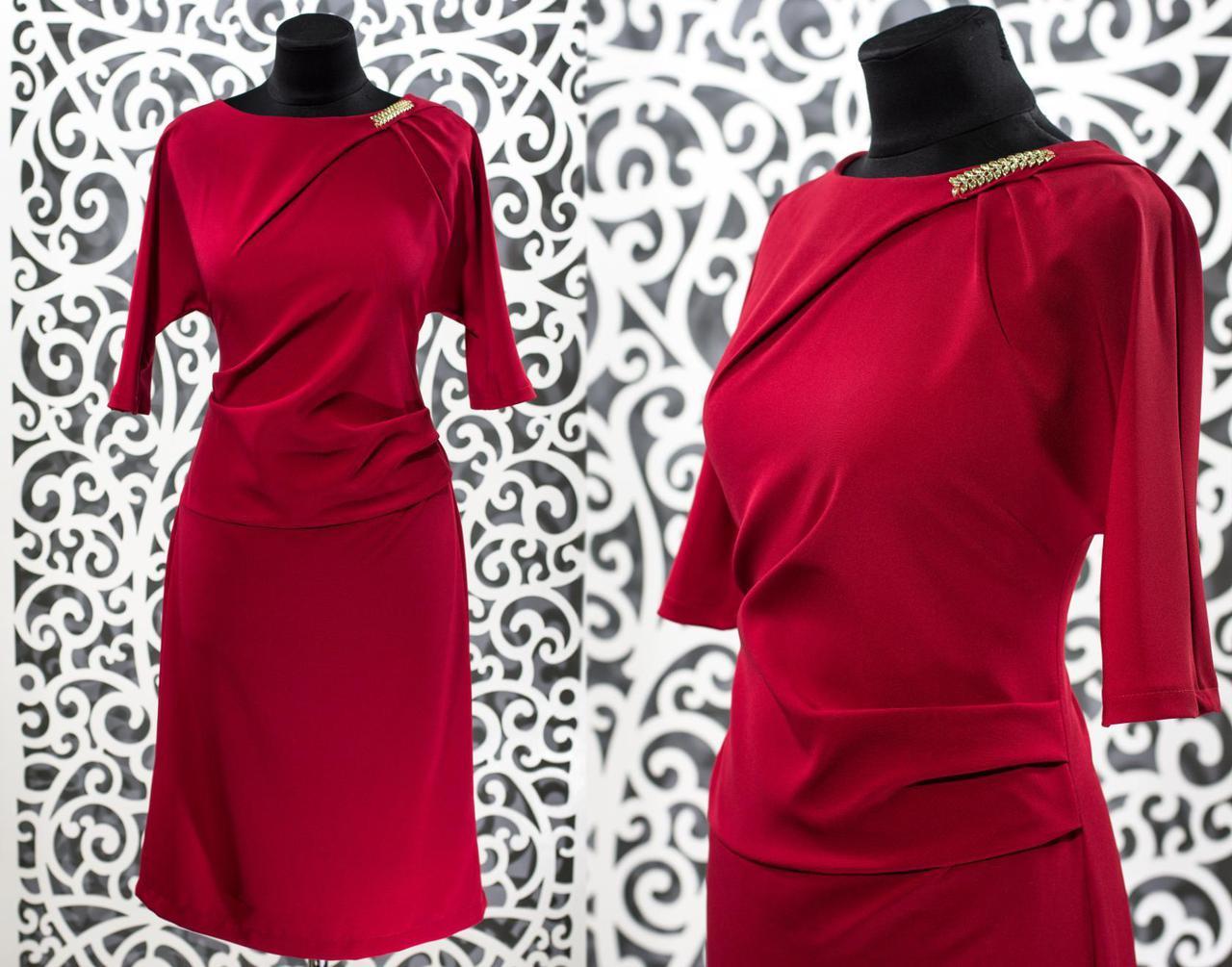 """Изысканное красное женское платье из """"Костюмной"""" ткани 48, 50, 52 размер батал"""