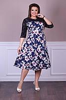 Нарядное женское платье украшено гипюром в размерах 52-56, фото 1