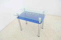 """Стол кухонный стеклянный на хромированных ножках Maxi DT R 900/650 (2) """"муза"""" синий стекло, хром, фото 1"""
