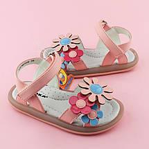 Розовые сандалии девочке на липучках Три цветка размер 25,26,27,28,29,30, фото 2
