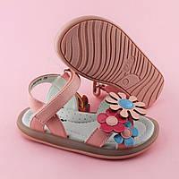 Розовые сандалии девочке на липучках Три цветка размер 30