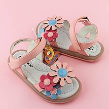 Розовые сандалии девочке на липучках Три цветка размер 25,26,27,28,29,30, фото 3