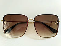 Квадратные коричневые очки в стиле Gucci с пчелой Опт