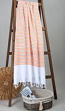 Полотенце Barine Pestemal White Imbat 90*170 Orange оранжевое