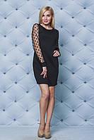 Короткое женское платье с рукавами сетка, фото 1