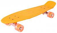 Пениборд скейтборд Оранж (penny) со святящиеся колёсами