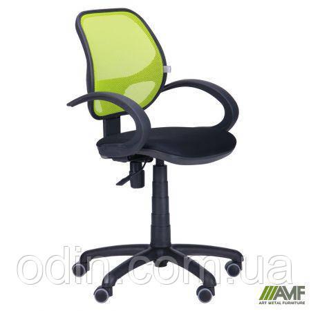 Кресло Байт/АМФ-5 сиденье Сетка черная/спинка Сетка лайм 116971
