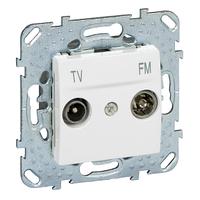 Розетка ТВ-R проходная Белый Unica Schneider, MGU5.453.18ZD