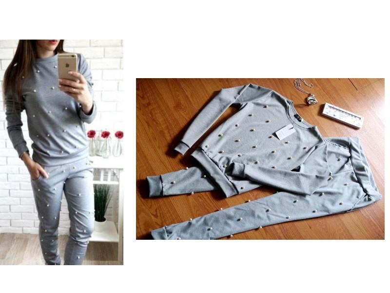 Шикарный женский спортивный костюм с жемчугом бусинками на весну/осень ткань трикотажL-ка серый