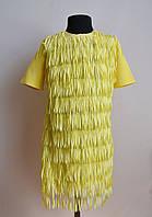 Нарядное детское платье для девочек лимонного цвета