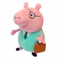 Мягкая игрушка PEPPA Папа Свин с портфелем 30 см (30292)