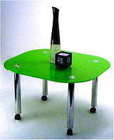 """Стол журнальный стеклянный на хромированных ножках Maxi  LT DXX1 800/750 """"зеленый"""" стекло, хром"""