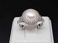 Серебряное кольцо Зефир с жемчугом и фианитами. Артикул 1774/9Р-PWT, фото 1