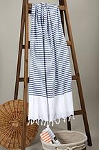 Полотенце Barine Pestemal White Imbat 90*170 Indigo синее