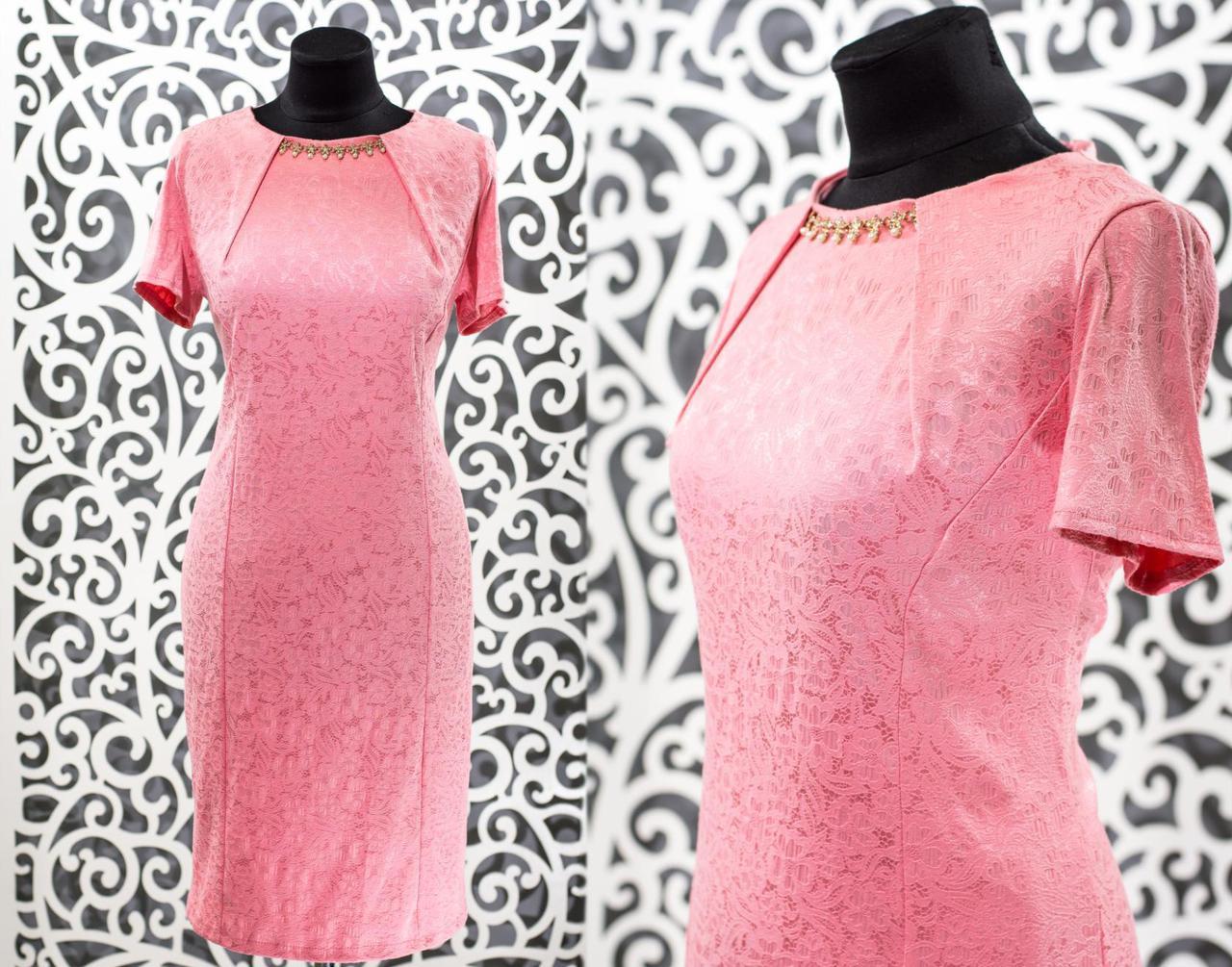 """Обворожительное женское платье с украшением """"Стрейч-коттон"""" 48, 50, 52, 54 размер батал"""
