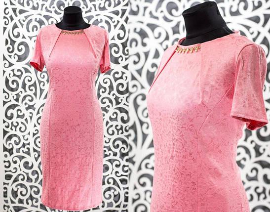 """Обворожительное женское платье с украшением """"Стрейч-коттон"""" 48, 50, 52, 54 размер батал, фото 2"""