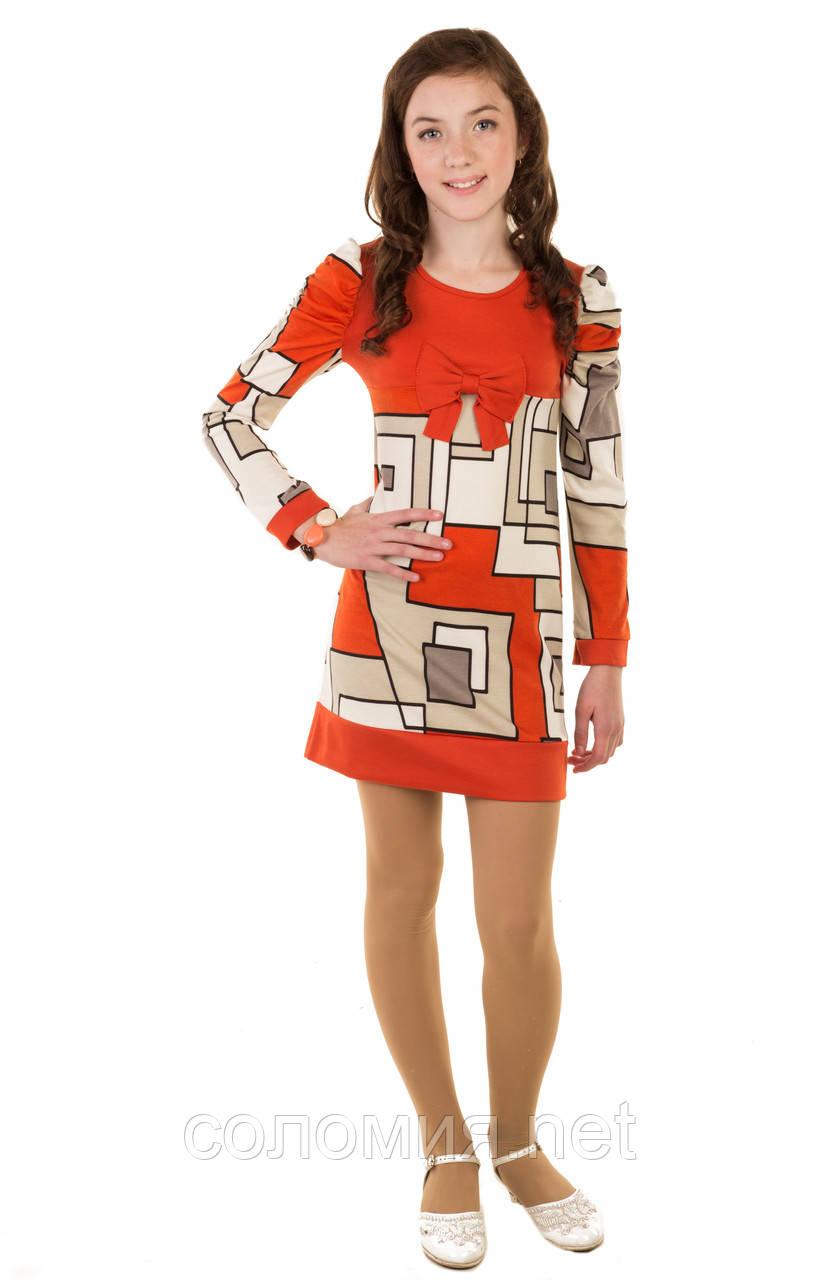 Интересное платье с необычайным узором в геометрическом стиле для девочки  134-152р