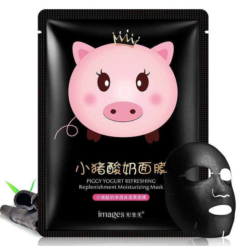 Маска-серветка для особи йогуртова IMAGES Piggy Yogurt Refreshing Black (25г)