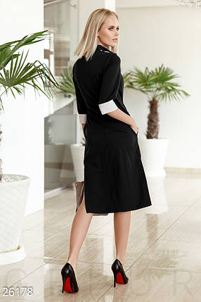 Строгое платье рубашка средней длины с воротником приталенное черное с белым, фото 2
