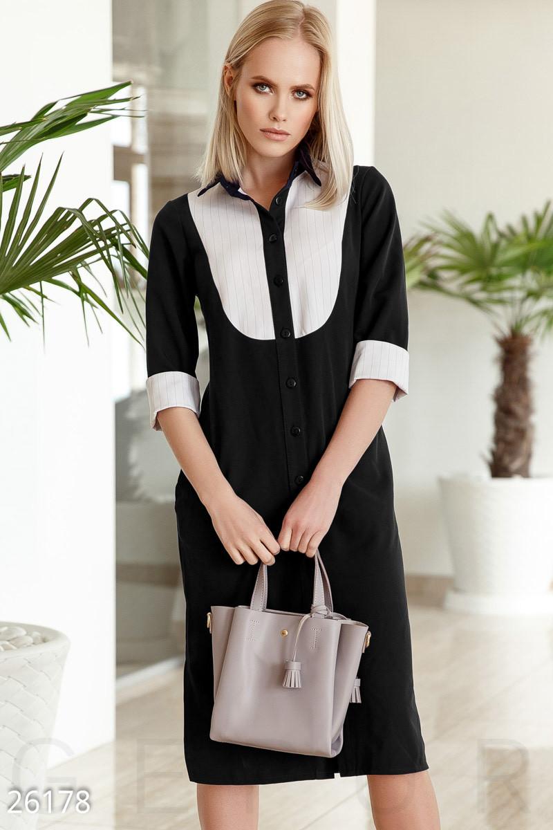 Строгое платье рубашка средней длины с воротником приталенное черное с белым