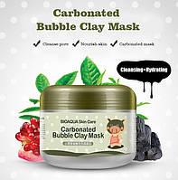 Маска для лица кислородная пузырьковая очищающая и отшелушивающая BIOAQUA Carbonated Bubble Clay Mask (100мл)
