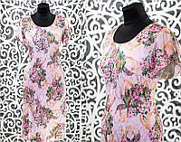 """Стильно женское платье с набивным принтом ткань """"Стрейч-Коттон"""" 48, 50, 52, 54 размер батал"""