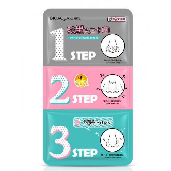 Маска для носа очищающая в три этапа BIOAQUA Remove Black Heads 3-step Kit Gray (21мл)
