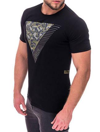 Модная мужская футболка черного цвета, фото 2