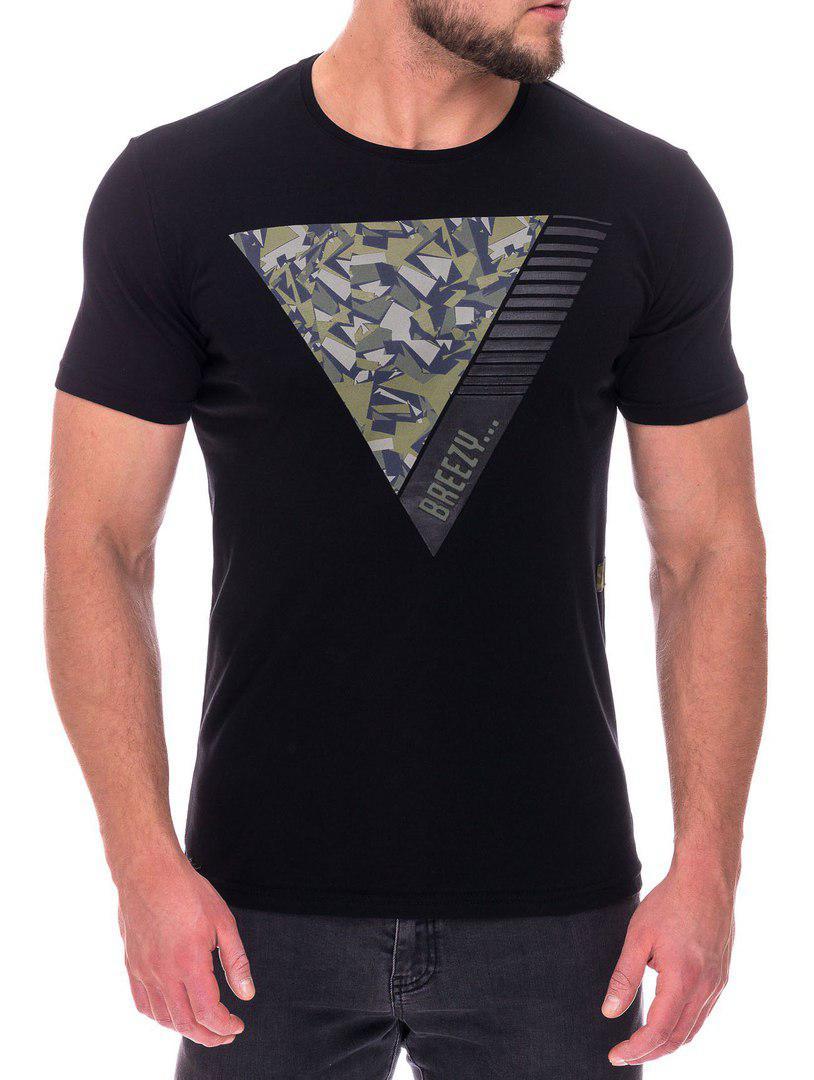 Модная мужская футболка черного цвета