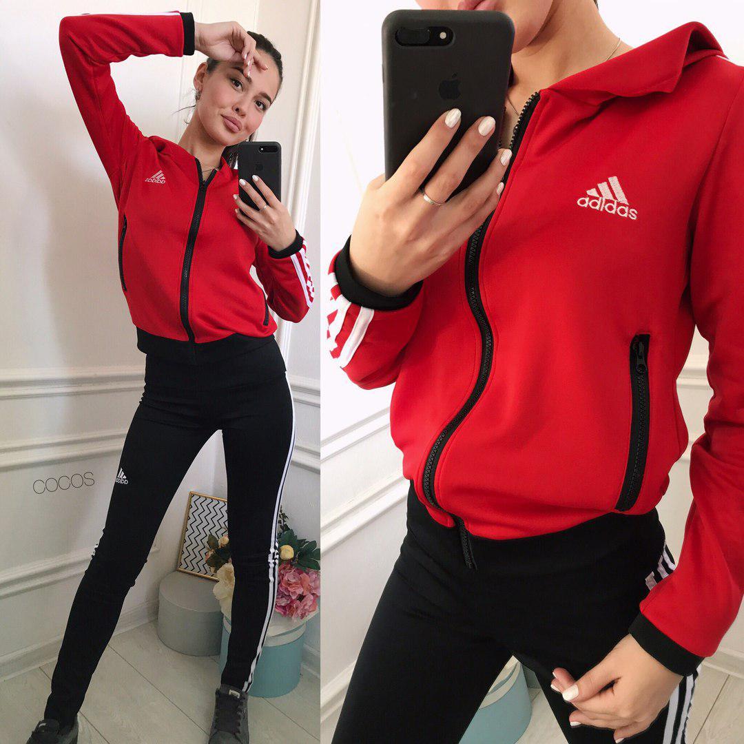 Женский спортивный костюм adidas. Размеры  с, м, л, хл, ххл. Ткань  дайвинг  спорт. Цвет  красный с черным. adbfbf40ae5