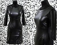 """Модное женское платье ткань """"костюмка+Эко-кожа"""" 42, 46 размер норма"""