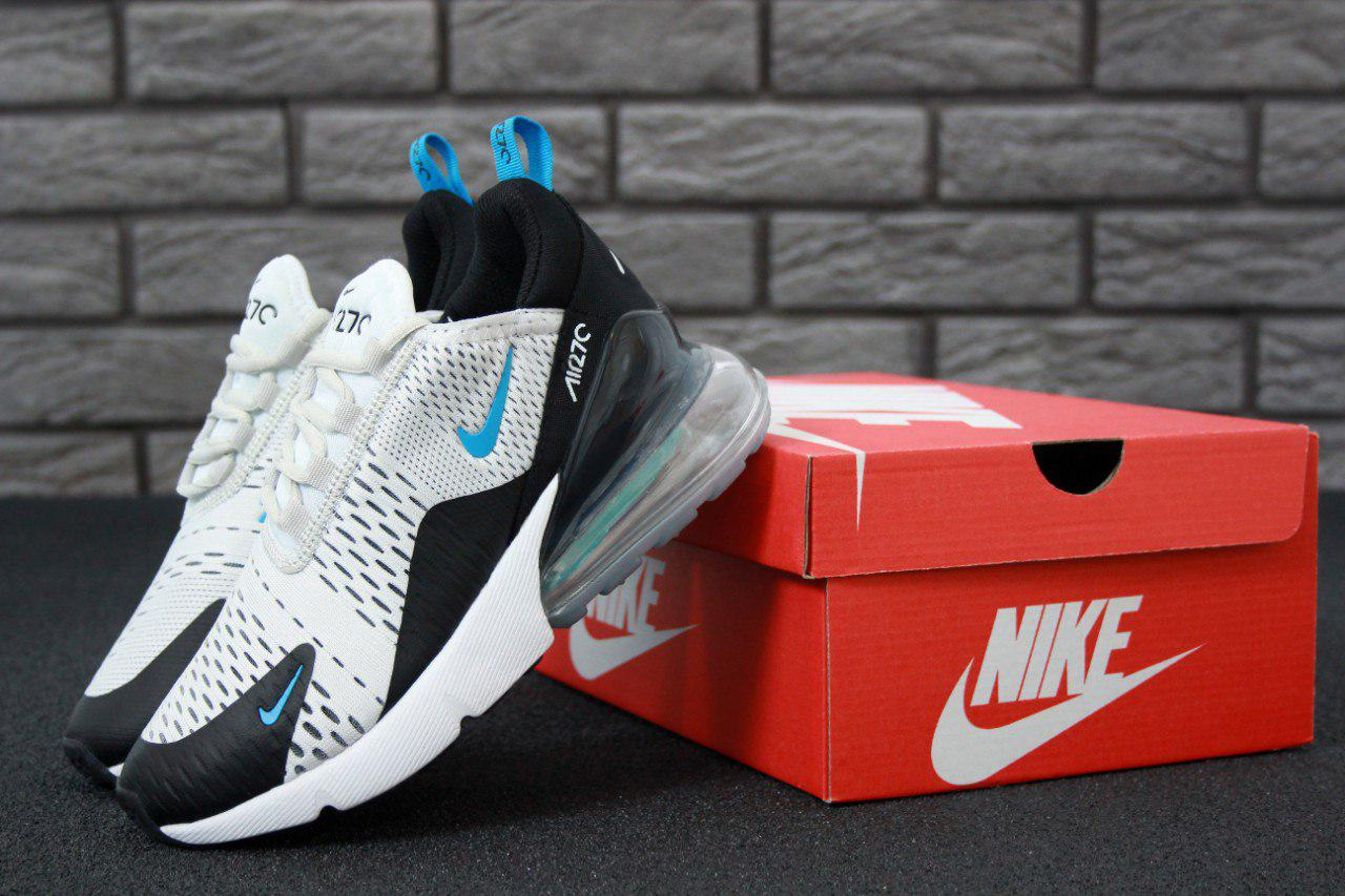 1f566e58 Кроссовки женские Nike Air Max 270 White/Black/Blue Реплика - купить ...