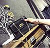 Женская сумочка маленькая черная с блестками и ремешком-цепочкой