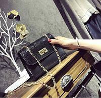 Женская сумочка маленькая черная с блестками и ремешком-цепочкой , фото 1