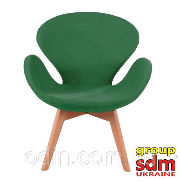 Кресло Сван Вуд Армз, ножки дерево бук, ткань, цвет зеленый SWWOAGREEN