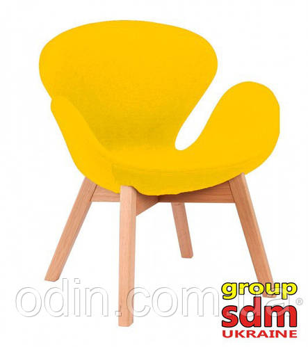 Кресло Сван Вуд Армз, ножки дерево бук, ткань, цвет желтый SWWOAYEL