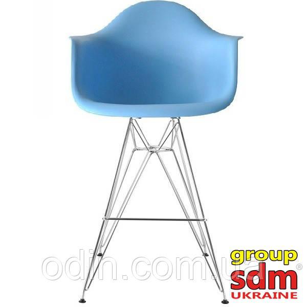 Стілець барний Тауер Eames, хром, пластик, колір блакитний