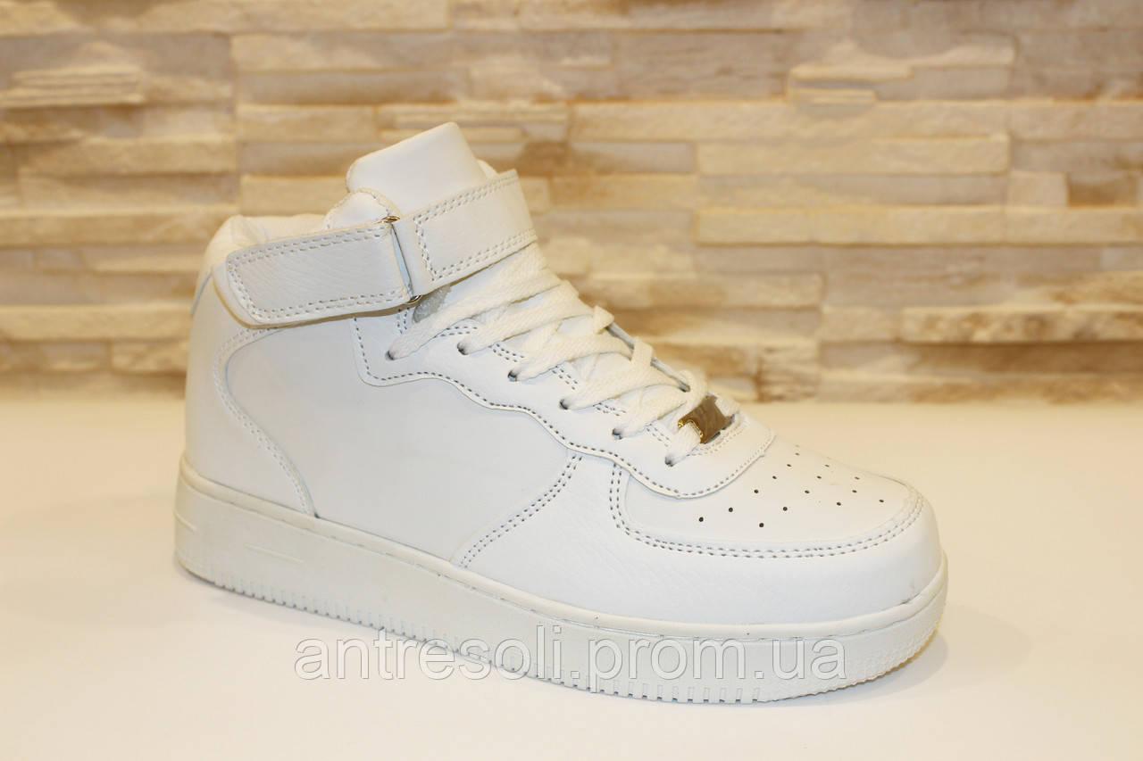 Кроссовки белые высокие с липучками Т964