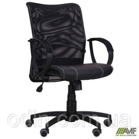 Кресло Лайт Net LB Софт АМФ-8 Неаполь N-20 нитка белая/спинка Сетка черная нитка белая 125608