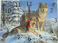Часы-картина 30x40 см, под стеклом, лес, зима, Волки