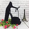 Босоножки замшевые черного цвета на устойчивом каблуке носок открыт пятка закрыта шнурочек Код 1585