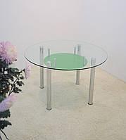 """Стол обеденный стеклянный на хромированных ножках Maxi DT K 1060 (2) """"прозрачно-зеленый"""" стекло, хром, фото 1"""