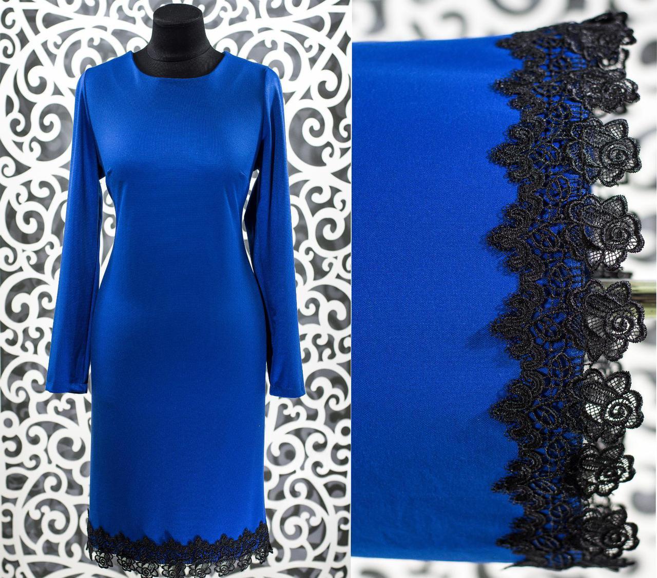 """Шикарное женское платье """"Французский трикотаж"""" с кружевом  48, 50 размер батал"""